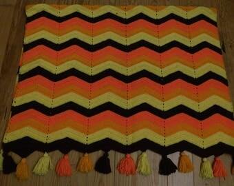 vintage crochet Afghan Chevron pattern 1970 colors