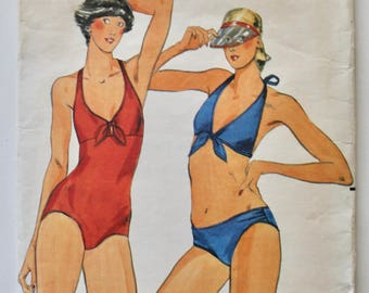 Vintage 1970s Women's Tie Front Bikini and One-Piece Swimsuit Sewing Pattern Size 12 Butterick 5487