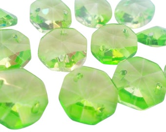 50 Spring Green 14mm Octagon Chandelier Crystals 2 Hole Beads