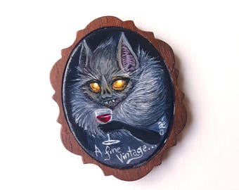 A Fine Vintage! Said the Vampire Bat -  Miniature Acrylic Painting by Amy E Owers