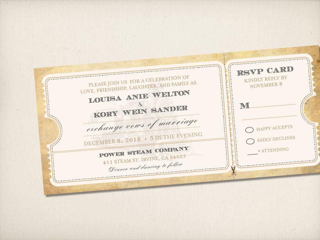 Wedding Invitation, Train Ticket Wedding Invitation, Rustic Vintage ...