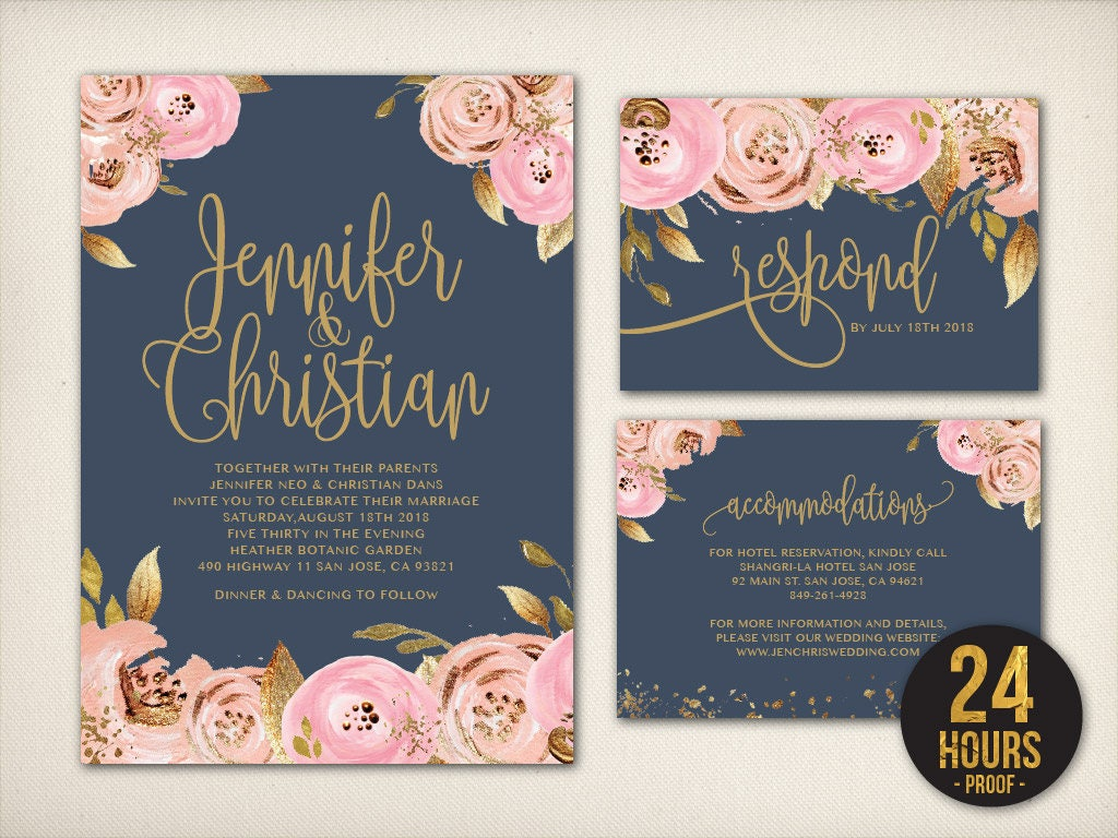 Wedding Invitation Navy Blush Gold Invitation Blush Gold Foil