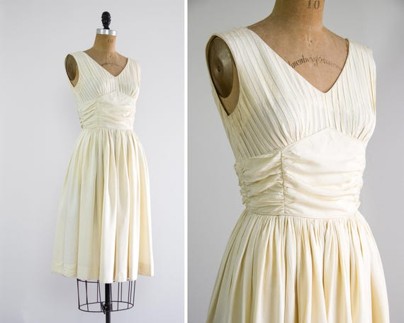 vintage 1950s wedding dress short | 50s ivory wedding dress | vintage white dress