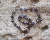 Boho Sapphire and bronze fused gemstone choker and or bracelet