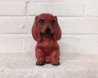 Puppy dog coin bank vintage cash box plaster chalkware painted adorable home decor