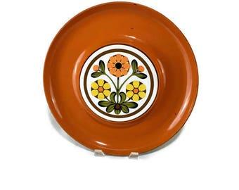 Vintage Orange Serving Tray * Yellow Daisies * Ceramic Tile Inlay