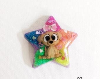 Kawaii Cute Puppy glitter resin star charm