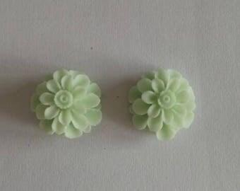 12 pcs of resin flower cabochon20mm-0031-44-Mint Green