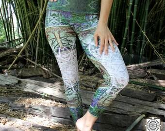 Yoga Leggings , Printed Leggings , Yoga Pants , Womens Activewear , Green  , Nature leggings  , Womens Leggings , Sexy Pants , Boho Leggings