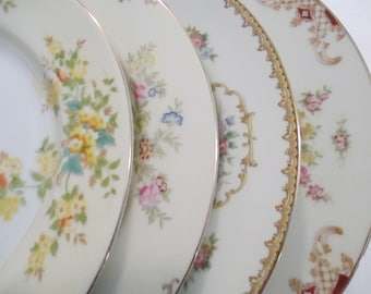 Vintage Mismatched China Dinner Plates for Garden Party, Wedding,Bridal Luncheon,Showers,Hostess Gift,Bridesmaid Gift,-Set of 4