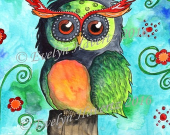 "Whimsical Owl ""Hermann"", mixed-media painting on watercolor paper"