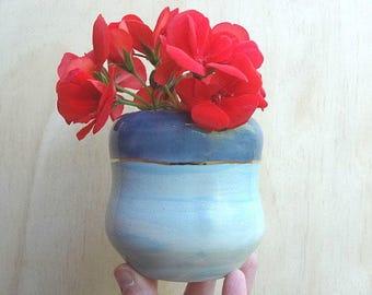 Blue ceramic vase with gold detail. Small watercolour vase. Wheel thrown handmade vase.
