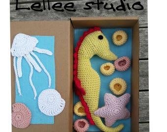 Seahorse, Amigurumi Seahorse, Crochet Seahorse, Green Seahorse, Handmade Soft Toy and crochet starfish
