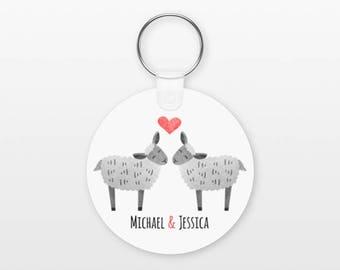 Sheep Keychain, Couple Keychain, Couple Key Chain, Lamb Keychain, Animal Keychain Personalized Boyfriend Keychain, Girlfriend Keyring