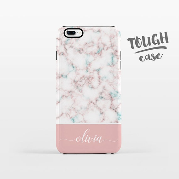 Marble NAME Custom Phone Case Personalized iPhone X Case iPhone 8 Case iPhone 7 Plus Case iPhone 6 Plus iPhone 6S Pink for Her Women TOUGH
