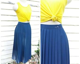 Vintage Navy Blue Accordion Pleated Midi Skirt Womens 60s Lightweight Preppy Retro High Waisted Skirt 13