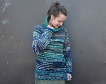Handmade oversized bright and beautiful green and blue striped wool sweater with collar / neck