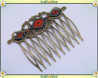 Gunmetal gray black orange glass beads vintage wedding hair comb