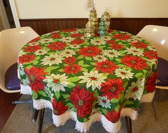 Vintage Christmas Table Cloth Poinsettia Decor Holiday Table Cloth Retro Christmas Tree Skirt Christmas Decor Holiday Decor Vintage Holiday