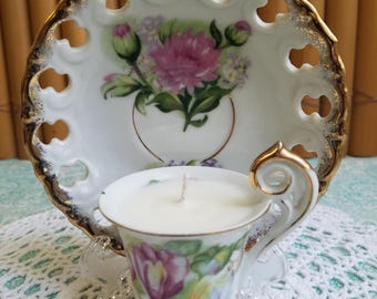 Mismatched! Elegant Demitasse Teacup Candle with Saucer