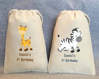 "12-jungle party, Safari, Safari party, Safari party bags, Zoo party, Lion, Zebra, Giraffe, Tiger, Elephant, Safari party favor bags 5"" by 8"""