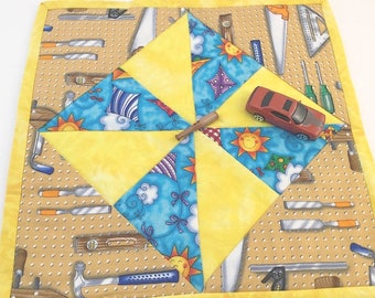 Tools and Checks, Mini Quilt, Hot Pad, Trivet, Candle Mat, Blue and Yellow, Tool Mini Quilt, Quilted Play mat, Boy Play Mat, Baseball mat