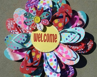 Beautiful & Unique Welcome Flip Flop Wreath Door Wall Decor Beachy Gift Patio