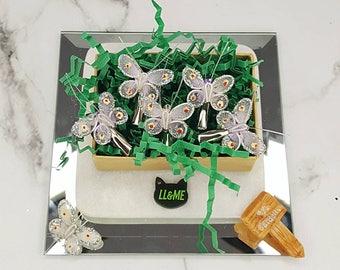 Butterfly clips, bohemian, gypsy, boho, bridal, wedding, Plur, rave