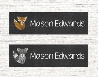 80 Skinny Personalized Waterproof Labels Dishwasher Safe Daycare or School Name Stickers Baby Bottle Labels - Fox Raccoon 001
