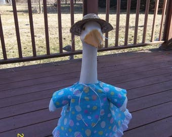 Goose Dress - Easter Eggs on Teal Blue