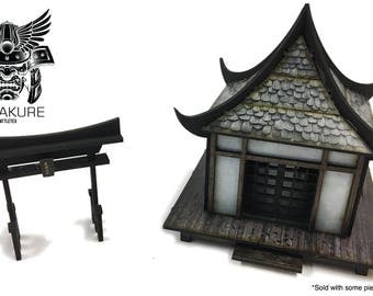 Textured Hogyo Minka - Samurai Japanese Traditional Hut & O Tori Shrine - Wargaming - Suitable for Test of Honour, Bushido Etc 28mm Japan