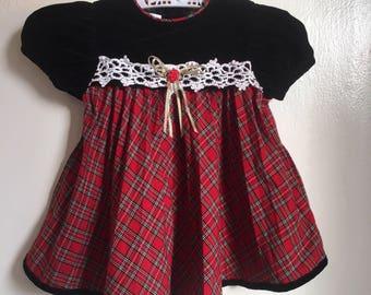 Intage Youngland Christmas Holiday Dress Sz 12M Velvet