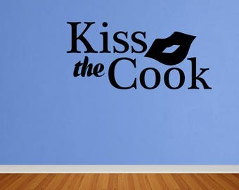 Wall Decal Kiss The Cook Lips Kitchen Wall Art Decal Quote Words Lettering Decor Vinyl Quote Sticker Home Decor (DP380)