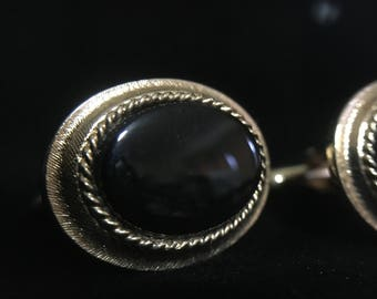 Vintage Avon Oval Gold Tone Cufflinks Pair   (JT3)