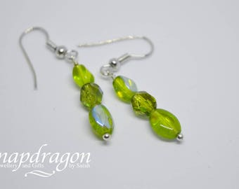 Lime green faceted glass drop earrings