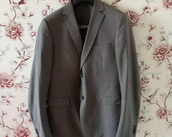 Ermenegildo Zegna gray wool double-breasted jacket classical men's suit