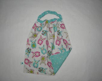 Sleeves with elastic, bib, printed towel back to school pink and blue owls