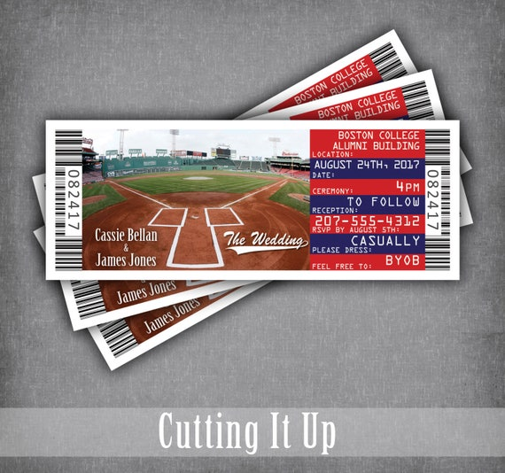 boston red sox invitation tickets chicago cubs baseball wedding ticket invitations formal sports wedding invites and rsvp diy template - Baseball Wedding Invitations