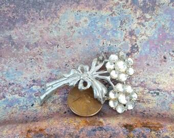 Vintage Silver Rhinestone Dandelion Brooch