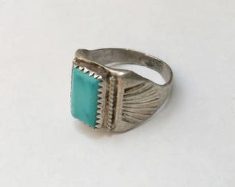 vintage sterling and turquoise ring, size 9.25