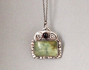 Silver Pendant Necklace, Natural Stone Jewelry, Tourmaline Necklace, Oxidized Jewelry, Serpentine Stone Pendant, Shillyshallyjewelry, Rustic