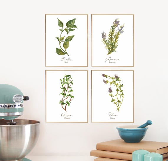 Watercolor herb prints french kitchen art botanical print for French kitchen artwork