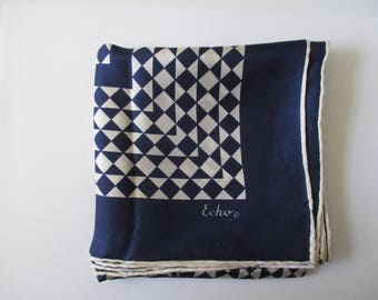 Vintage Echo Navy Blue and White Silk Scarf
