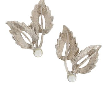 Vintage Classic Silver Tone Leaves Clip On Earrings Faux Pearl 1950s