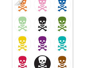 Pick Your Poison Halloween Wine Glass Decals, 1 Inch Round Glass Tags, Glass Charms, Hostess Gift, Glass Not included, 12 Per Pack