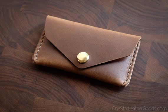 Coin pouch / wallet / business card case with snap, Horween Chromexcel leather - natural CXL