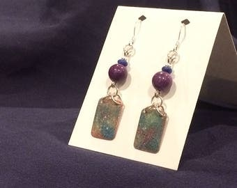 Hand-crafted Enamel on Copper Earrings with Dyed Purple Jade & Sodalite.
