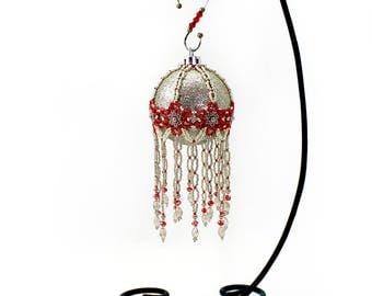 Medium Red Flower and Glittery Bronze Ornament