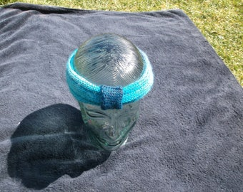 Knitted Turban - Hand Knitted - Variegated Blue & Sparkle