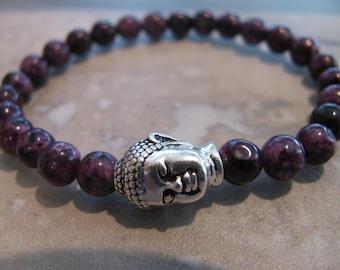 Purple Sesame Jasper Gemstone Buddha Stretch Bracelet- Budda, Budha, Yoga, Boho, Mala, Energy, Meditation, Gift, Minimalist-Toniraecreations